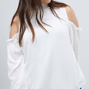 Cold Shoulder Blouse, with high neck